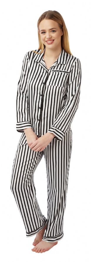 Ladies 2 Piece Satin Pyjamas - Ivory/Black Striped 8 - 22